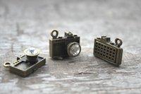 antique lens - 8pcs Camera Charms Antique bronze Tone with Rhinestone Lens charm pendants x17mm