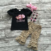 school clothes - 2016 Summer back to school outfit girls cute clothes black leopard preschool kids capris set baby kids with accessories