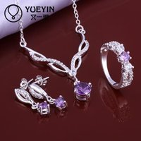 Wholesale minimalistic S643 cheap silver plated jewelry sets inlaid Crystal for women ruby I monili Geometry