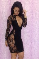 Wholesale Women Sexy Lace Club Bodycon Dress Ladies Long Sleeve Sheer Mini Party Club Dress Plus Size Woman Clothing