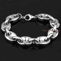 bean toggles - High Quality Fashion L Stainless Steel Silver Coffee Beans Chain Mens Womens Bracelet Bangle Popular Jewelry Good Gift