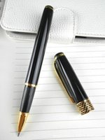 baoer ballpoint pen - 1pcs Baoer Black Polished and Golden Clip M Nib Ink Steel Roller pen for promotion and gift packing witn velvet pouch