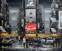 arts view - Times Square New york Manhattan City VIEWS Pure Hand Painted Art Oil Painting Canvas any customized size accepted Jo