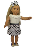 Wholesale Fashion Style Polk Dot Dress and White Top Shirt Doll Clothes and Headband for American Girl Doll