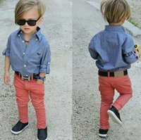 Wholesale Children s clothing Autumn Handsome boy soft denim shirt jeans suit set baby boy s suit set Kids long sleeve denim trousers jean