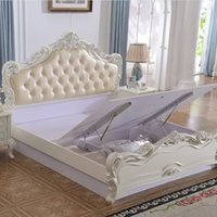 Wholesale European wide solid wood bed white soft bed the project double back high cabinet lockers