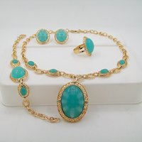 alibaba - New product Alibaba International station hot selling imitation jade emerald necklace jewelry sets wedding jewelry sets