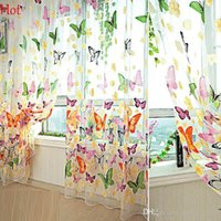 Wholesale New Art Curtain Flowers Butterfly Printed Tulle Voile Door Window Balcony Sheer Panel Screen Curtain Home Decoration x111cm Sale SV118188