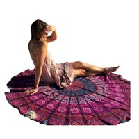 beach towel black - Round Beach Towel Indian Mandala Printed Towel Blanket Tapestry Hippy Boho Gypsy Cotton Tablecloth Room Furniture Cover Yoga Mat A