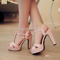 Cheap Wholesale-Plus size 26-62 New Nice Summer Women Sandals Fashion Thick High Heels Party Shoes T-Strap Rome Style Ladies Beach Shoes