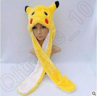 animal fur costume - 28 Designs Pikachu Cartoon Plush Animal Faux Fur Full Hooded Hat Women Children Costume Beanie With Long Scarf Gloves Earmuffs CCA5184
