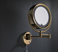 Wholesale High Quality Solid Brass Gold Bathroom Led Cosmetic Mirror In Wall Mounted Mirrors Accessories BM007