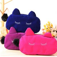 Wholesale New Arrivals Lady Women Cosmetic Bags Makeup Purses Case Flannel Polyester Cartoon Cat Portable Travel