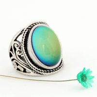 Wholesale Mojo Vintage Bohemia Retro Color Change Mood Ring Emotion Feeling Changeable Rings Temperature Control Ring for Women MJ RS019