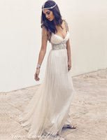 Wholesale Anna Campbell Bohemian Wedding Dresses Spaghetti Straps Delicate Beaded Sexy V Neck Chiffon Backless Boho Bridal Gowns
