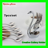 Wholesale 7PCS SET Creative Swan Cutlery Stand Utensils Holder With Stainless Steel Fruit Fork And Spoon Kitchen Cutlery Set Cooking Flatware Sets