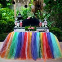 Wholesale customize Table Desk Skirt TUTU Tulle Tableware cm Wedding Baby Shower Birthday Party Decor