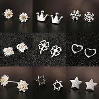 Wholesale Sterling Silver Stud Statement Earrings Women Lady Fashion Party Jewelry Wedding Pure Sivler Earrings Valentine Gift Styles