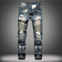 Wholesale 2016 crime famous balmain jeans hit men skinny jeans balmain jeans puncture hole size to