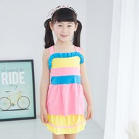 Wholesale korean new girls swimsuit sweet ruffles one piece bright colors swimwear beach park kids years middle large girl quality cheap