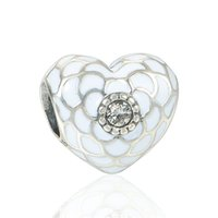 Wholesale Heart charms beads flower for S925 sterling silver european fits for pandora style bracelets new arrival D105AH6