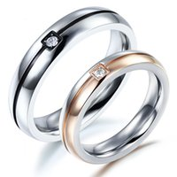 Wholesale Lover couple ring hot selling Fashion Wedding Ring Stainless Steel AAA Cubic Zirconia Smooth Surface Jewelry rings