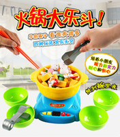 Wholesale Child Kid Baby Kitchen Ware Cooking Pretend Play Toys Cooker Set Hot pot Bowls Chopstick Safe