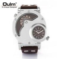 al por mayor del oulm blanco-Genuino OULM 9591 relojes para hombre Marca Reloj de diseño de lujo reloj grande ronda de tiempo dual doble núcleo de la máquina de tiempo Blanco plateado