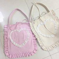 anime handbags - Japan Anime Canvas Women s Handbag Large Capacity Mother Travel Shoulder Bag Lace Heart Flouncing Lolita Hand Bags