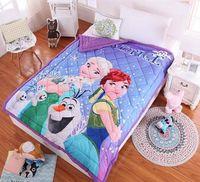 Wholesale 10pcs Cartoon Kids Quilts fleece Summer quilt Children s Nursery Bedding on the bed Dairy queen adventures quilt girl gifts B002