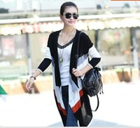Wholesale Stripe Color Flats - 2015090204 Hot Sale 2015 Women Fashion Long Sleeve Rainbow Colorful Stripes V-neck Irregular Outerwear Knitted Sweater