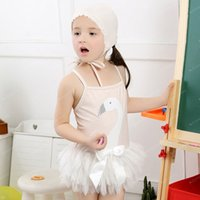 Wholesale Baby Girl One piece Hammock Wimsuit Tutu Romper Lace Cap Swan Swimming Suit Children Girl Beach Bathing Suit