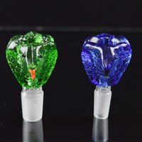 funny head - Glass Bowls for Bongs Male mm and mm Joint Size Bowls Colored Funny Snake Head Shape Bowls Thick Heavy Bowl Green Blue Bowl for Bongs
