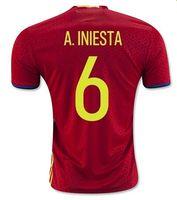 Alta calidad de Tailandia fútbol de España Fútbol jerseys Conjunto 3 Pique 6 A.Iniesta 10 Fabregas 15 19 Ramos Diego Costa Silva 21 22 Isco
