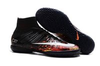 Wholesale 2016 Football Boots Hypervenom Phantom ii Magista Obra Mercurial Superfly CR7 FG IC TF AG Indoor Soccer Cleats High Ankle Soccer Shoes