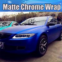 achat en gros de chrome métallique pellicule de vinyle-Bleu Chrome Bleu Métallique Blue Vinyl Wrap Stretch Matte Bleu Chrome Car Wrap Film Autocollants Avec Bulle d'Air Libre 1.52x20m / Roll Livraison gratuite