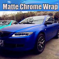 Wholesale Chrome Blue Matt Metallic Blue Vinyl Wrap Stretch Matte Chrome Blue Car Wrap Film Stickers With Air bubble Free x20m Roll