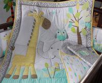 applique owl - 100 cotton Embroidery owl elephant giraffe baby bedding set quilt bumper Skirt Mattress Cover crib bedding set