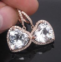 Wholesale SOLID Kt ROSE GOLD NATURAL GORGEOUS WHITE TOPAZ DIAMOND DROP EARRING