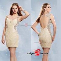 Wholesale Sexy Short party Dreses Plunging Neckline Evening Dresess Cocktail Beaded Pearls Club Wear Custom Made W3151