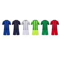 Wholesale Men vertical bar Adult Polyester short sleeve set running sets Darkblue football soccer jersey wear Training Breathable