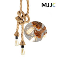 Wholesale 1M M Length Retro Pendant Lamp Lighting E27 Rope Lamp Holders Vintage Hand Knitting Hemp Lamp Holders AC85 V Voltage MM Diameters