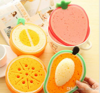 Wholesale Fruit thickened sponge scouring cloth strong decontamination wash cloth dish towel is not contaminated with oil sponge