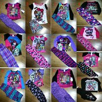 Cheap New monster high Baby Girls Pajamas outfits cartoon cotton monster high children T-shirt&pants 2pcs set kids clothing DHL shipping C1015