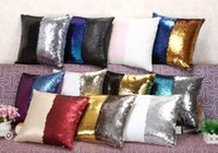 Wholesale Sequins Reversible Cushion Cover Pillow slip Mermaid Pillow case Cover Home Sofa Car Décor Magic Swipe Pillow Cover design Free DHL