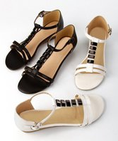 Wholesale Fashion Genuine Leather Sandals Bead Rhinestone Party Wedge Heel Dress Lady Women Shoes Sz