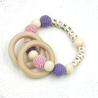 baby girl bracelets - new arrival Creative Baby Crochet Wooden Beads Nursing Toy Baby Teether bracelet safe to chew TT004