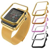 aluminum watch case - Apple Watch Case mm mm Gold Black Gun Plated Stainless Steel Metal Bumper Case Aluminum Alloy Screen Edge Protective Accessories