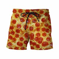 Wholesale Newest Style Funny D Shorts Delicious Pizza Prints Short Pants Male Hipster Beach Shorts Mens Streetwear Sport Board Shorts