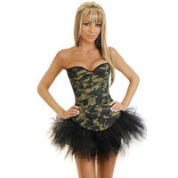 army camouflage lingerie - New Fashion Women Waist Training Corset Army Green Camouflage Print Overbust Gothic Corset Top Sexy Lingerie Bustier Body Shaper